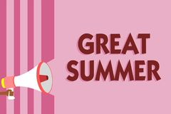 Word writing text Great Summer. Business concept for Having Fun Good Sunshine Going to the beach Enjoying outdoor Megaphone loudsp. Eaker pink stripes important royalty free stock image