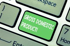 Word writing text Gross Domestic Product. Business concept for total value of everything produced in the country. Keyboard key Intention to create computer stock photo