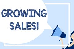 Word writing text Growing Sales. Business concept for Average sales volume of a company s is products has grown Huge. Word writing text Growing Sales. Business stock illustration