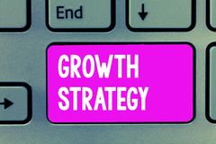 Word writing text Growth Strategy. Business concept for Strategy aimed at winning larger market share in shortterm.  stock image
