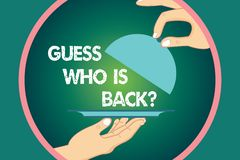 Word writing text Guess Who Is Back. Business concept for Game surprise asking wondering curiosity question Hu analysis. Hands Serving Tray Platter and Lifting vector illustration