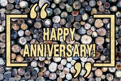 Word writing text Happy Anniversary. Business concept for Annual Special Milestone Commemoration Wooden background. Word writing text Happy Anniversary. Business stock image