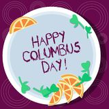 Word writing text Happy Columbus Day. Business concept for holiday commemorates landing of Christopher in Americas Cutouts of. Sliced Lime Wedge and Herb Leaves stock image
