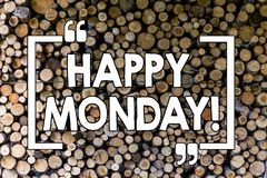 Word writing text Happy Monday. Business concept for Wishing you have a good start for the week Wooden background. Word writing text Happy Monday. Business photo royalty free stock photos