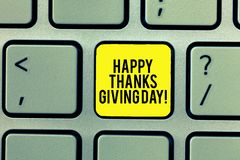 Word writing text Happy Thanks Giving Day. Business concept for Celebrating thankfulness gratitude holiday Keyboard key. Intention to create computer message royalty free stock images