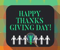 Word writing text Happy Thanks Giving Day. Business concept for Celebrating thankfulness gratitude holiday Magnifying vector illustration