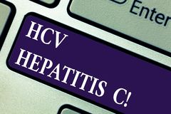 Word writing text Hcv Hepatitis C. Business concept for Liver disease caused by a virus severe chronic illness Keyboard key. Intention to create computer stock photography