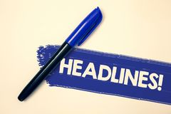 Free Word Writing Text Headlines Motivational Call. Business Concept For Heading At The Top Of An Article In Newspaper Ideas Messages F Stock Photos - 120134093