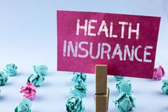 Word writing text Health Insurance. Business concept for Health insurance information coverage healthcare provider written on Pink. Word writing text Health royalty free stock image