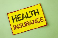 Word writing text Health Insurance. Business concept for Health insurance information coverage healthcare provider written on Yell. Word writing text Health stock photography