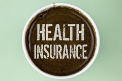 Word writing text Health Insurance. Business concept for Health insurance information coverage healthcare provider written on Coff. Word writing text Health royalty free stock photography