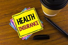 Word writing text Health Insurance. Business concept for Health insurance information coverage healthcare provider written on Stic. Word writing text Health royalty free stock photos