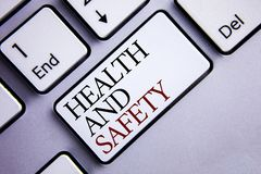 Word writing text Health And Safety. Business concept for being in good condition harmless Workouts Healthy food written on White. Word writing text Health And Stock Photo