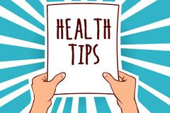 Word writing text Health Tips. Business concept for state of complete physical mental and social well being Man holding paper impo stock illustration