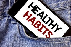 Word writing text Healthy Habits. Business concept for Good nutrition diet take care of oneself Weight Control Text two Words writ. Ten black Phone white Screen royalty free stock photos