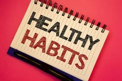 Word writing text Healthy Habits. Business concept for Good nutrition diet take care of oneself Weight Control Text two Words note. S written white notepad black royalty free stock photography