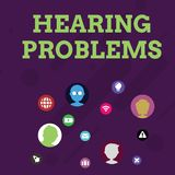 Word writing text Hearing Problems. Business concept for is partial or total inability tolisten to sounds normally. Word writing text Hearing Problems. Business vector illustration