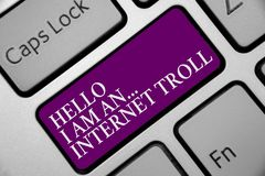 Free Word Writing Text Hello I Am An ... Internet Troll. Business Concept For Social Media Troubles Discussions Arguments Keyboard Purp Stock Photo - 123917290