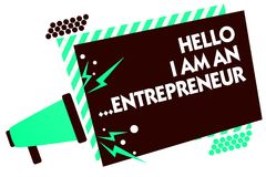 Word writing text Hello I Am An ...Entrepreneur. Business concept for person who sets up a business or startups Megaphone loudspea. Ker green striped frame Royalty Free Stock Image
