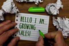 Word writing text Hello I Am... Growing Sales. Business concept for Making more money Selling larger quantities Hand hold green pe. N and words on white page stock image