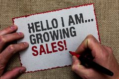 Word writing text Hello I Am... Growing Sales. Business concept for Making more money Selling larger quantities On jute ground hum. An hand written some texts on stock photography