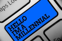 Word writing text Hello I am A Millennial. Business concept for person reaching young adulthood in current century Computer progra. M use software keyboard blue stock images