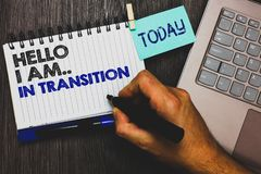 Word writing text Hello I Am.. In Transition. Business concept for Changing process Progressing planning new things Paperclip grip royalty free stock photography