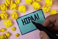 Word writing text Hipaa Motivational Call. Business concept for Health Insurance Portability and Accountability Act written by Man. Sticky note paper holding Royalty Free Stock Photos