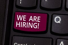 Word writing text We Are Hiring. Business concept for Workforce Wanted HR recruiting new hire employee Vacancy Keyboard. Key Intention to create computer royalty free stock photos