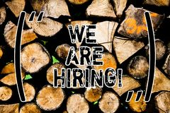 Word writing text We Are Hiring. Business concept for Workforce Wanted HR recruiting new hire employee Vacancy Wooden background. Vintage wood wild message stock photo