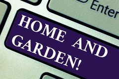 Word writing text Home And Garden. Business concept for Gardening and house activities hobbies agriculture Keyboard key. Intention to create computer message stock photos