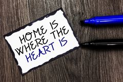 Word writing text Home Is When The Heart Is. Business concept for Your house is where you feel comfortable and happy Black bordere. D page with texts laid black royalty free stock photography