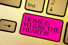 Word writing text Home Is When The Heart Is. Business concept for Your house is where you feel comfortable and happy Bright golden. Computer keyboard with pink stock photography