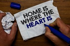Word writing text Home Is When The Heart Is. Business concept for Your house is where you feel comfortable and happy Hand hold pap. Er lob and blue marker wooden royalty free stock photos