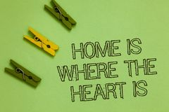 Word writing text Home Is When The Heart Is. Business concept for Your house is where you feel comfortable and happy. Outline words green middle yellow paper royalty free stock photography