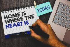 Word writing text Home Is When The Heart Is. Business concept for Your house is where you feel comfortable and happy Paperclip gri. P sticky note with text hand stock photo