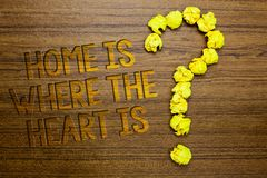 Word writing text Home Is When The Heart Is. Business concept for Your house is where you feel comfortable and happy Wooden floor. With some letters yellow royalty free stock image