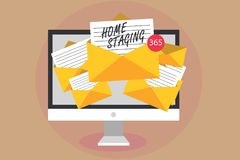 Word writing text Home Staging. Business concept for Act of preparing a private residence for sale in the market Computer receivin vector illustration