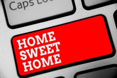 Word writing text Home Sweet Home. Business concept for In house finally Comfortable feeling Relaxed Family time Keyboard red key. Intention create computer stock photos