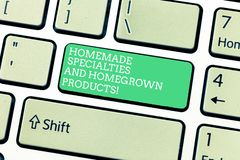 Word writing text Homemade Specialties And Homegrown Products. Business concept for Healthy fresh special dishes. Keyboard key Intention to create computer royalty free stock photos