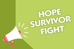 Word writing text Hope Survivor Fight. Business concept for stand against your illness be fighter stick to dreams Class room offic. E sound speaker system convey Stock Image