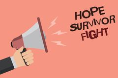Word writing text Hope Survivor Fight. Business concept for stand against your illness be fighter stick to dreams Convey message r. Ecall idea notice remind Stock Photos