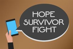Word writing text Hope Survivor Fight. Business concept for stand against your illness be fighter stick to dreams Mobile text mess. Age messenger smart touch Royalty Free Stock Photo