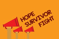 Word writing text Hope Survivor Fight. Business concept for stand against your illness be fighter stick to dreams Three lines text. Messages ideas multiple Stock Image