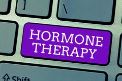 Word writing text Hormone Therapy. Business concept for use of hormones in treating of menopausal symptoms.  royalty free stock photo
