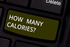 Word writing text How Many Calories. Business concept for asking about nutritional requirement or consumption food stock photography