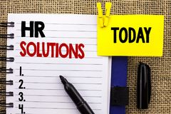 Word writing text Hr Solutions. Business concept for Recruitment Solution Consulting Management Solving Onboarding written on Note. Word writing text Hr royalty free stock image
