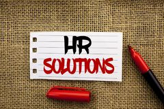 Word writing text Hr Solutions. Business concept for Recruitment Solution Consulting Management Solving Onboarding written on Note. Word writing text Hr Royalty Free Stock Photos