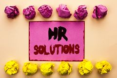 Word writing text Hr Solutions. Business concept for Recruitment Solution Consulting Management Solving Onboarding written on Pink. Word writing text Hr Royalty Free Stock Images