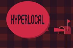 Word writing text Hyperlocal. Business concept for Relating to Concerning a small community or geographical area.  vector illustration